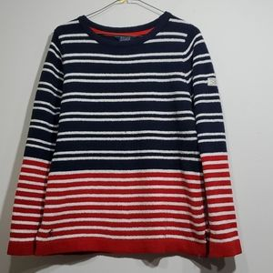 Joules knit sweater, sz 8 red white navy blue